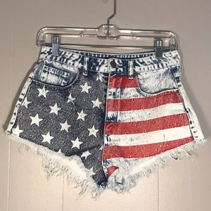 Divided American Flag Patriotic 4th of July Shorts